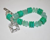 Green Turquoise Bracelet. Flourite. Sterling Decorative Toggle Clasp, Natural Faceted Stone, Contemporary Styling, Heishi Beads, OOAK