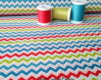Chevron Blue / Multi from the Hooty Hoot Returns Collection from Riley Blake Fabrics 1/2 yard on sale