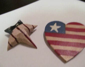 two carved wood 4th july pins
