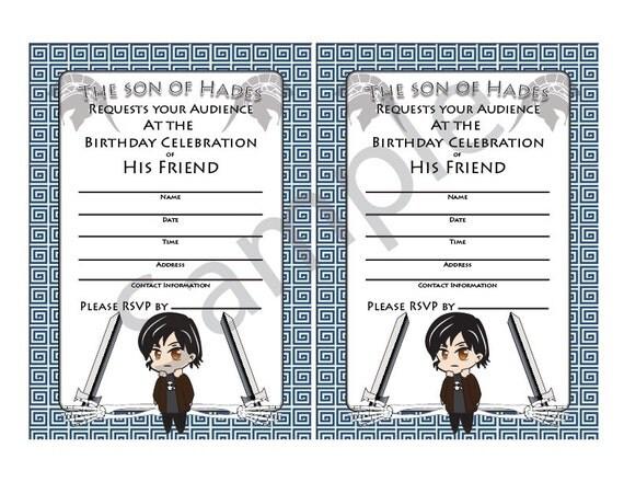 Items similar to DemigodPercy Jackson InspireGreek God Half – Percy Jackson Birthday Invitations