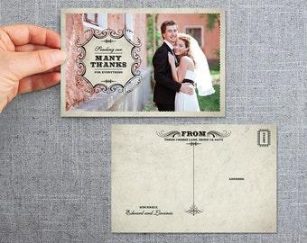 Digital File - Postcard Thank you card Wedding - Old World Vintage