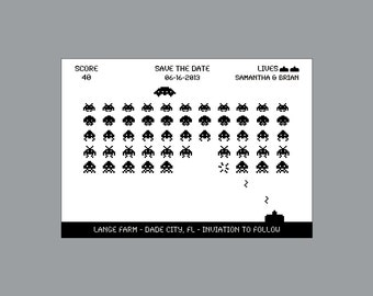"""Arcade Wedding Save the Dates - Vintage Retro Old School Video Arcade Game """"Space Invaders"""" Wedding Save the Date"""