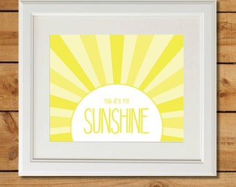 You Are My Sunshine Baby Shower Printable - Yellow Nursery Art - Instant Download - Last Minute Baby Shower Gift - You Are My Sunshine Sign