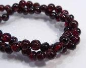 10 Beads....Red Garnet Gemstone Round Beads....5mm...BB