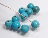 CLOSE OUT SALE: 90 Blue Howlite Turquoise Smooth Round Gemstone Beads.....8mm
