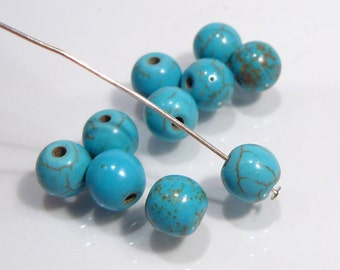 Blue Howlite Turquoise Smooth Round Gemstone Beads.....10 Beads...8mm
