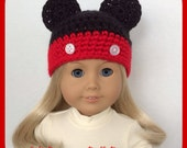 Doll Clothes Made To Fit American Girl, Mickey Mouse Crochet Hat,18 Inch, Handmade