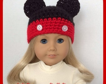 Mickey Mouse Hat Made For American Girl Dolls, Crochet, 18 Inch, Handmade