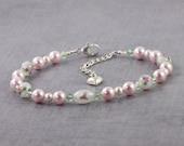Floral Bracelet Pink Pearl Bracelet Romantic Jewelry Green White Flower Bracelet Lampwork Bead Bracelet Wedding Jewelry Bridesmaid Bracelet