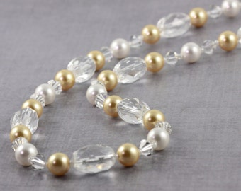 Champagne Gold Pearl Necklace, Crystal Quartz Jewelry, Winter Wedding, Gold and White, Mother of the Bride, White Topaz Box Clasp