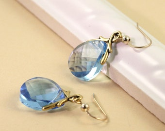 Aqua Crystal Earrings Aquamarine Blue Briolette Gold Filled Ear Wires Prom Jewelry Mothers Day Jewelry