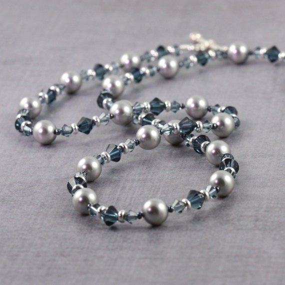 Steel Blue Necklace, Winter Wedding, Gray Pearl Jewelry, Mother of the Bride, Dark Blue