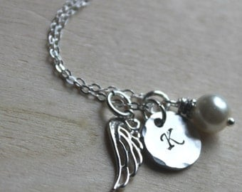 FREE SHIPPING. Initial, Swarovski Pearl & Angel Wing Feather Necklace. Sterling Silver. In Memory. Miscarriage. Departed loved one.