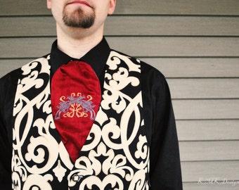 Steampunk Cravat - Groom Mens Ascot Embroidered in Silk - Western Victorian Cowboy -Custom to Order