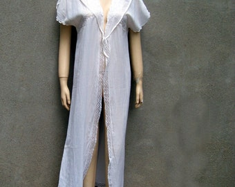 Vintage Gauze tie robe cover up lace trim long size MEDIUM