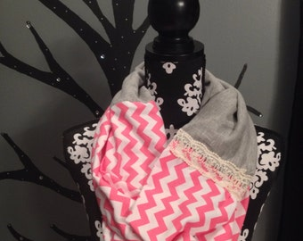 Pink chevron infinity scarf, pink and gray scarf, lace scarf