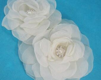 Bridal hair flower set, Ivory, Organza Rose hair pin, set  F168 - bridal hair accessory
