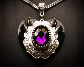 Amethyst Queen of Hearts Spike Necklace - Gothic Necklace - Heart Necklace - Gothic Jewelry