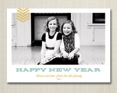 Photo New Year's Card, printable - vintage arrow.