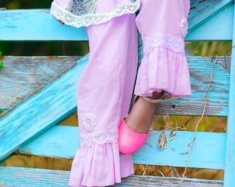 Corduroy Pants - Ruffle Pants - Pink Ruffle Pants