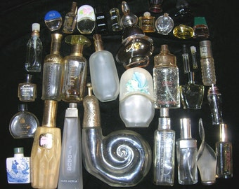 Vintage Full Size And Mini Perfume Bottle Lot 30 Bottles From Empty To Full Vanity Lot