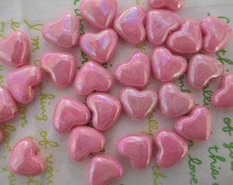 Small Puffy Heart BEADS 20pcs AB Pink