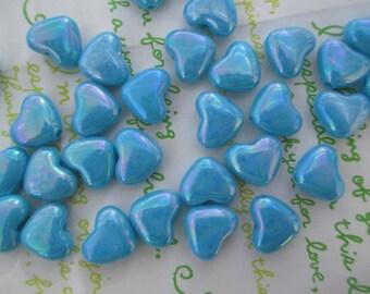 Small Puffy Heart BEADS 20pcs AB Blue
