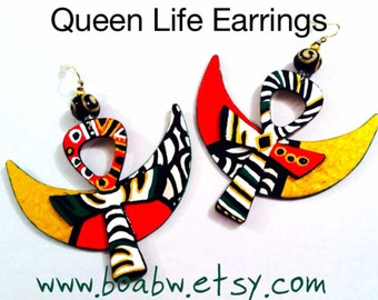 Queen Life Earrings ( Made to Order)