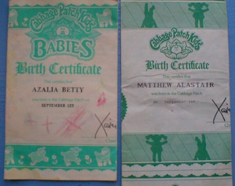 cabbage patch kid birth certificate template - see the small card with the code on it the seller printed