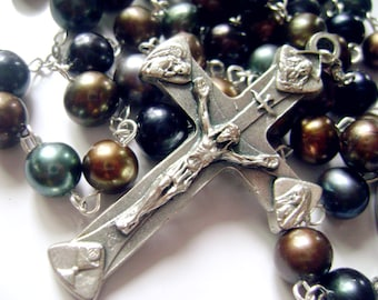 Black Tahitian Pearls  8-9mm Rosary Cross Necklace