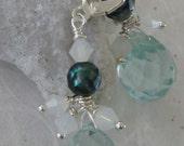 Aquamarine Teardrops &  Abolone Earrings