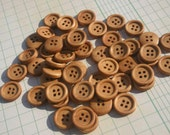 "Wood Buttons - Medium Color - 15mm - 5/8"" - 50 Wooden Sewing Buttons"
