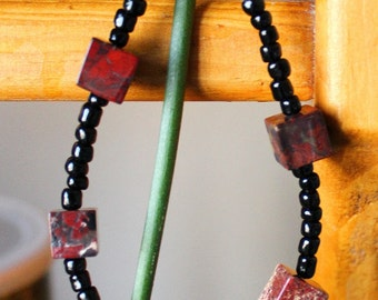 Red and black jasper stone cube and glass bead bracelet - simple nature jewelry for costumes, holidays, more