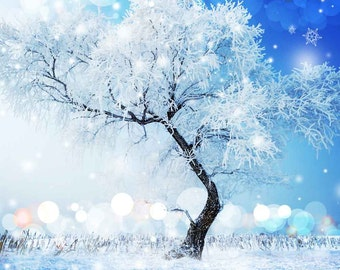 Frozen Tree 10ft x 10ft Backdrop Computer Printed Photography Background L-864