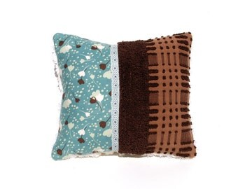 Chenille Pillow - Coco - Teal Aqua Chocolate Brown Vintage Chenille Handmade Pillow
