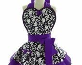 Retro Apron - Royal Purple Parisian Womans Aprons - Vintage Apron Style - Damask Pin up Rockabilly Cosplay Costume