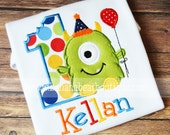 Rainbow Dots and Green Monster with Balloon Birthday Shirt