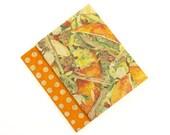 SALE 50% OFF Notebook Set: Orange Polka Dot & Floral paper paperback notebook journal pretty feminine dots circles spice ships worldwide