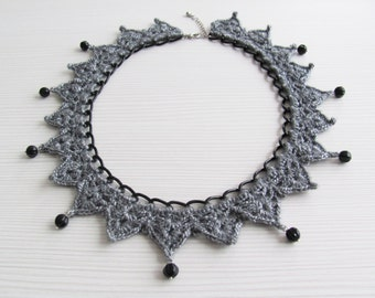 Gray black crocheted collar necklace choker