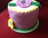 Fake Faux Cake Centerpiece/Gift Box for Birthday Gift in orchid, green and yellow with vintage chenille flower