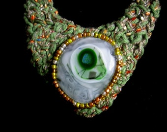 FREE SHIP Sage fused glass cabochan knitted necklace with copper, gold and silver bezel - bearlyartdesigns