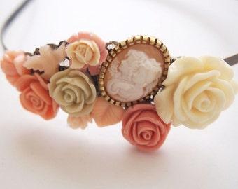 Peach Sisters Cluster Headband-Gemini Zodiac-Twins-Kitsch Accessory-Muted Fashion-Chunky Crown-Chic Tiara-Autumn Wedding-Bridesmaid Gift