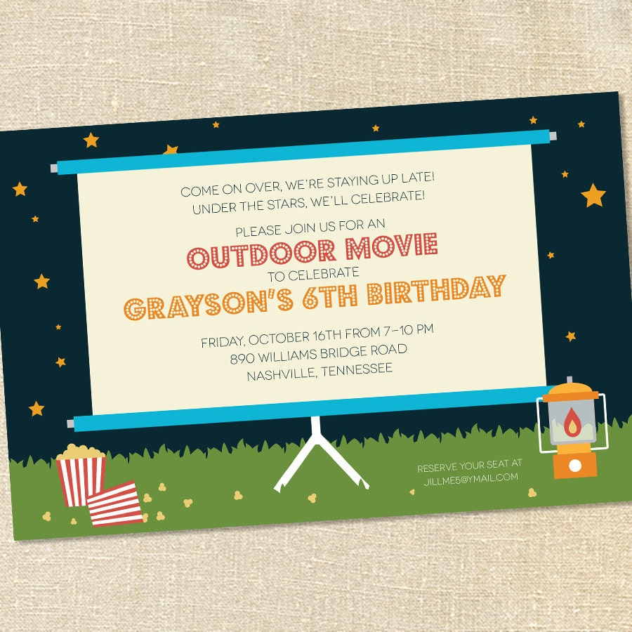 sweet wishes outdoor movie under the stars party invitations