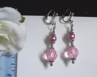 Handmade pink faceted crystal earrings - pierced and clip-on