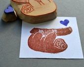 sloth hand carved rubber stamp, handmade rubber stamps