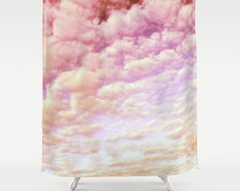 Cotton Candy Sky . Shower Curtain, modern, home,  bathroom, nature, fine art, photography, inspirational, dreamy, pastel, pink, cloud, happy