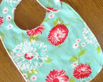 On Sale - White, Red, or Aqua Floral Minky Baby/Toddler Bib