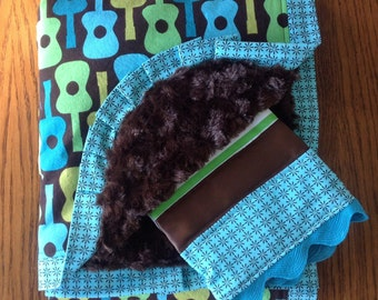Chocolate Brown, Green, and Aqua Groovy Guitar Minky Blanket and Burp Cloth Set - READY TO SHIP