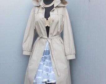 Vintage LONDON FOG Canvas Raincoat w/Hood -- Coat with Hood SIZE 14 Petite