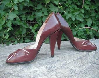 Vintage Heels, Pumps, SEDUCTIVE Sexy ELDITA's Peep-Toe High Heels,  Four Inch Heels, size 5.5